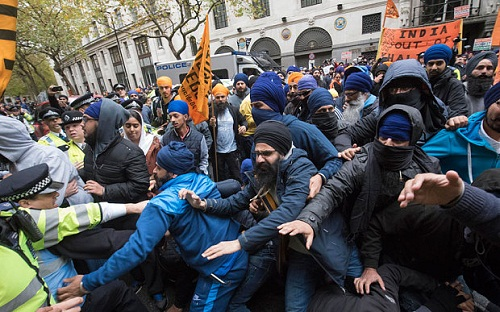 20-Arrested-Sikh-Protest-Indian-Embassy-UK