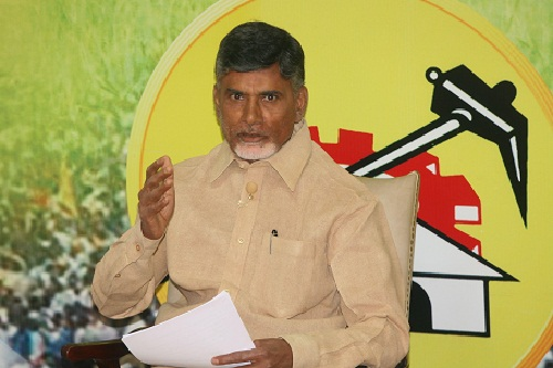 Telugu Desam Party (TDP) president N. Chandrababu Naidu during a press conference in Hyderabad on Nov.13, 2013. (Photo: IANS)