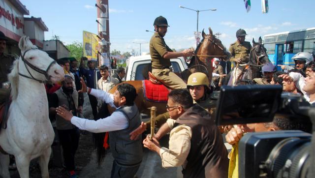 BJP MLA Attacks-Horse