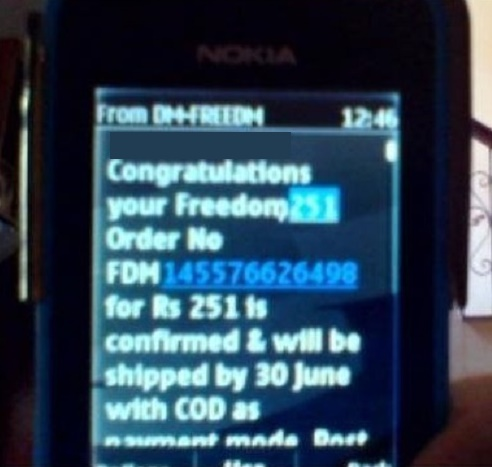 Freedom 251 smartphone Confirmation SMS Mail