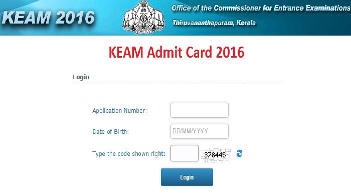KEAM Admit Card 2016