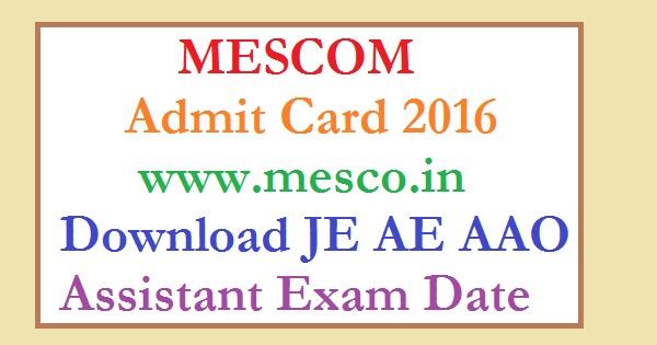 MESCOM-Admit Card-2016
