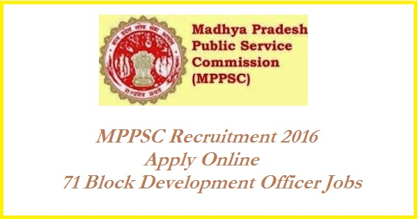 MPPSC-Recruitment 2016-Block-Development-Officer