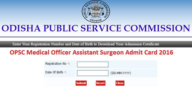 OPSC MO Admit Card 2016
