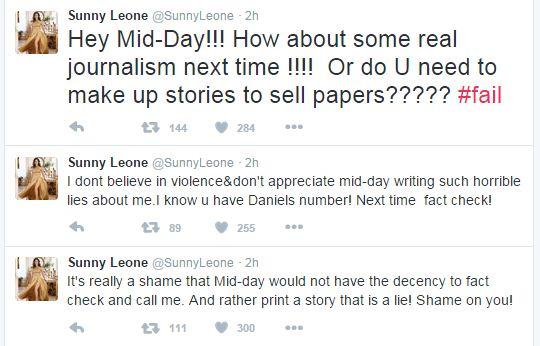 Sunny Leone Tweets on Slaps Reporter