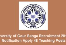 University of Gour Banga Recruitment