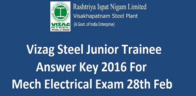 Vizag Steel Junior Trainee Answer Key 2016