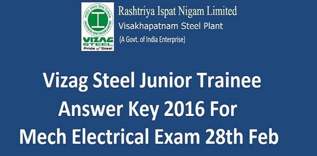 Vizag Steel Junior Trainee Answer Key 2016
