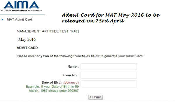 AIMA MAT Admit Card 2016
