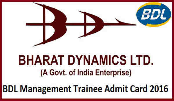 BDL Management Trainee Admit Card 2016