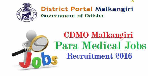 CDMO Malkangiri Recruitment 2016
