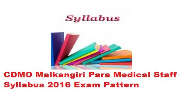 CDMO Malkangiri Syllabus 2016