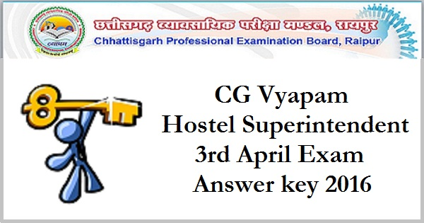 CG Vyapam-Hostel-Superintendent-Answer-key-2016