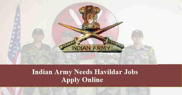 Indian Army Havildar Recruitment 2016