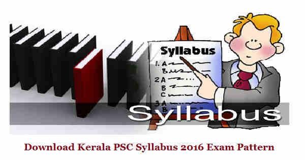 Kerala PSC Syllabus 2016