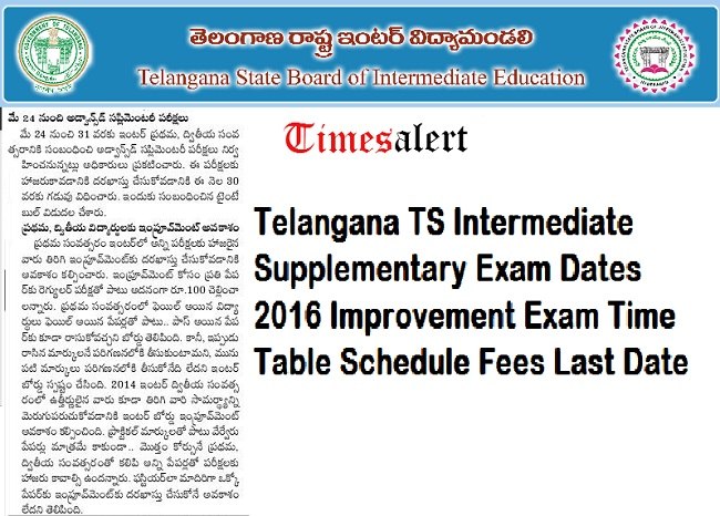 TS Inter Supply Exam Dates 2016