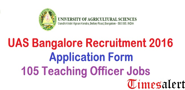 UAS Bangalore Recruitment 2016
