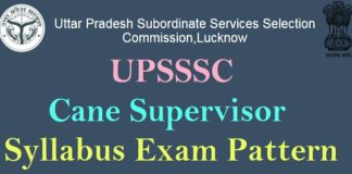 UPSSSC Cane Supervisor Syllabus Pattern
