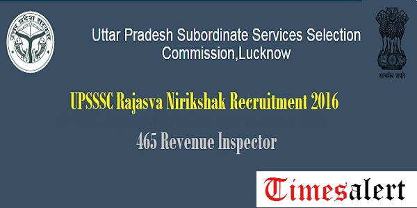 UPSSSC Rajasva Nirikshak Recruitment 2016