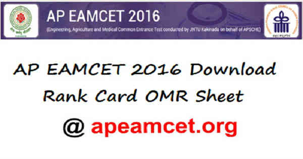 AP EAMCET Rank Card 2016