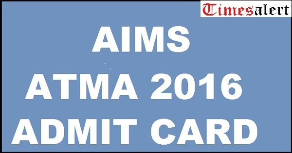 ATMA 2016 ADMIT CARD