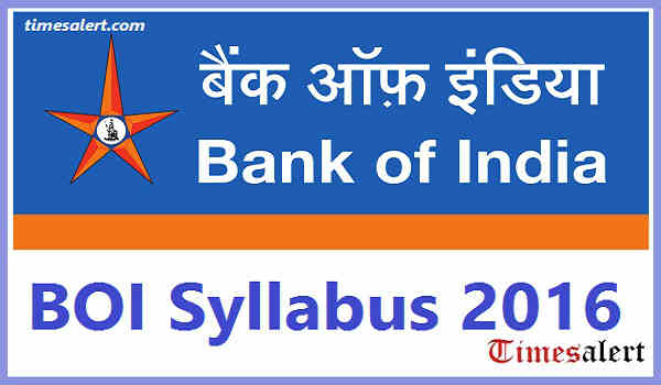 Bank Of India Syllabus 2016