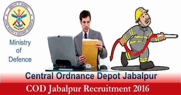COD Jabalpur Recruitment 2016