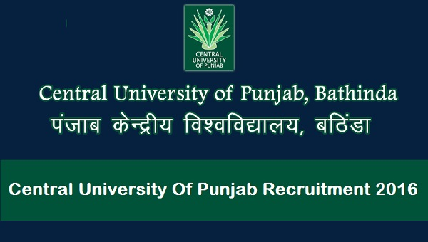 Central University Of Punjab Recruitment 2016