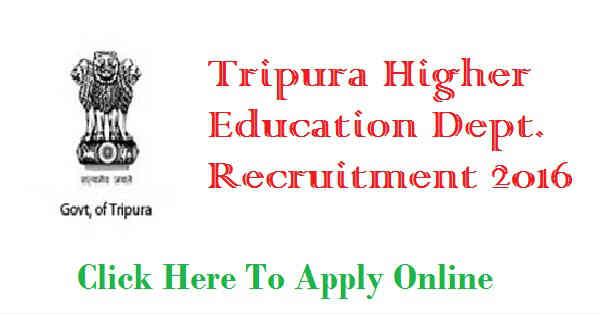 DHE Tripura Recruitment 2016