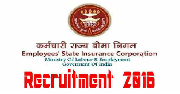 ESICMHL Recruitment 2016