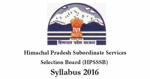 HPSSSB Syllabus 2016