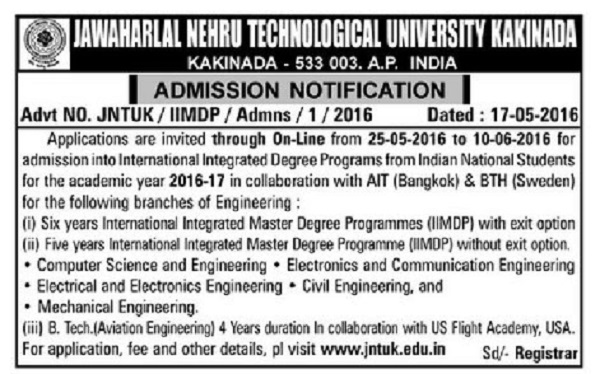 JNTUK IIMDP B.Tech Admission Notification 2016