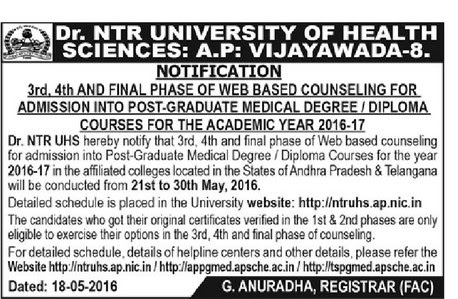 NTRUHS PGMET 2016 Final Phase Counselling Dates