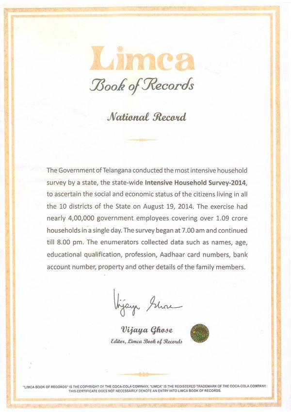 TS Samagra Kutumba Survey Limca Book Of Records