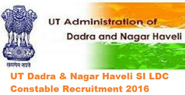 UT Dadra Nagar Haveli Recruitment 2016