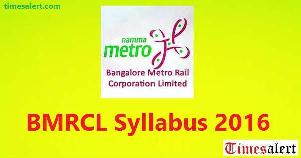 BMRCL Syllabus 2016