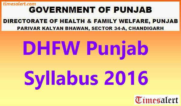 DHFW Punjab Syllabus 2016