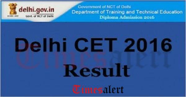 Delhi CET Polytechnic Results 2016