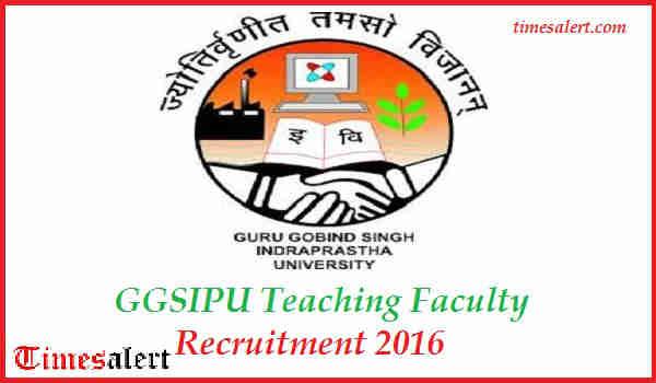 GGSIPU Recruitment 2016