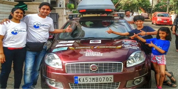 Indian Family Drove Car From Bengaluru