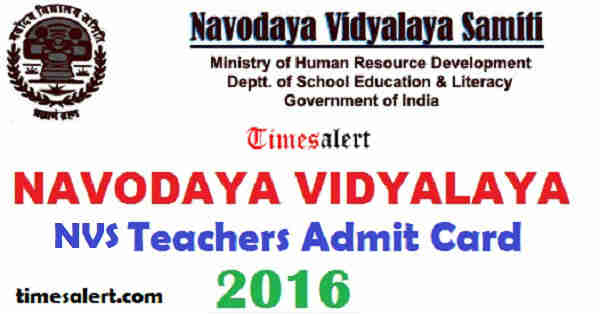 NVS Chandigarh Admit Card 2016