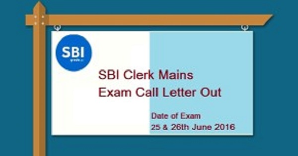 SBI Clerk Mains Admit Card 2016