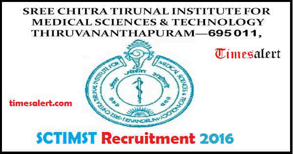 SCTIMST Recruitment 2016