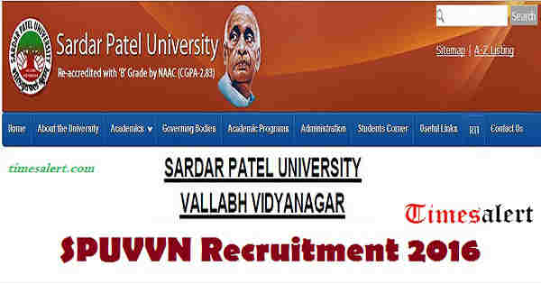 SPUVVN Recruitment 2016