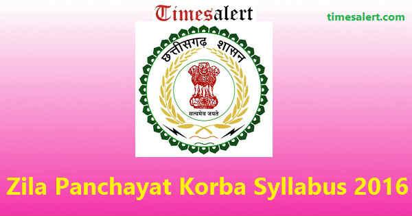 Zila Panchayat Korba Syllabus 2016
