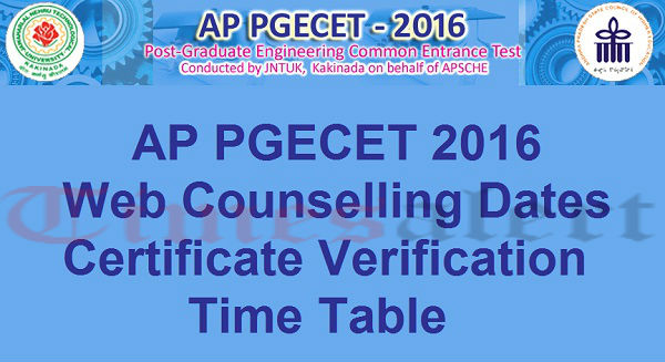 AP PGECET 2016 Web Counselling Dates