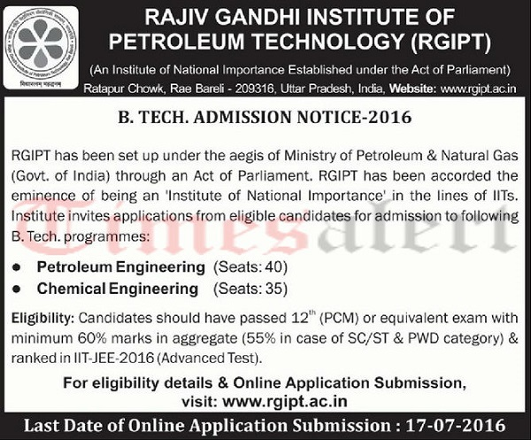 RGIPT B.Tech Admission Notification 2016