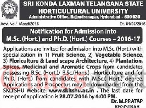 SKLTSHU M.Sc Ph.D Horticulture Notification 2016