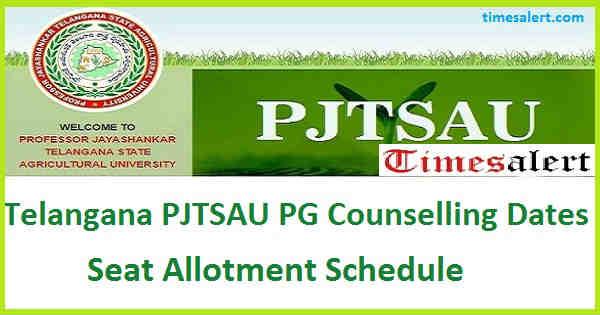 Telangana PJTSAU PG Counselling Dates