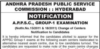 APPSC Group 1 Exam 2016 New Centers List